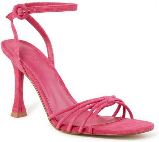 Mango Suède sandalen met hoge hakken in roze online kopen