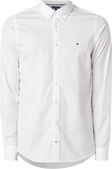 Tommy Hilfiger Slim fit poplin overhemd met stretch in wit