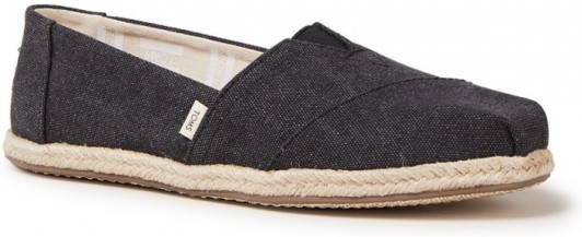 Toms Classic 10009751 Black Washed Canvas Rope Sole online kopen