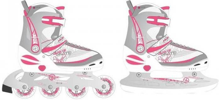 09044e74d0e Nijdam inline- en ijsschaatsen combo 35-38 wit/zilver/roze 52SZ online