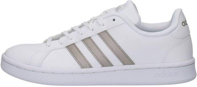 Witte adidas Sneakers Grand Court Zilveren Strepen