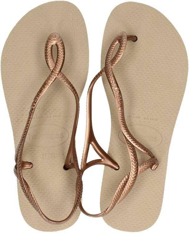 Verkooppromotie vrouwen welbekend Havaianas Luna sandalen goud
