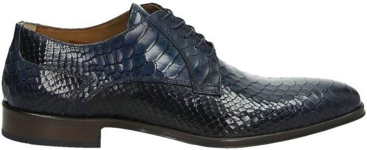 Lorenzi leren veterschoenen met slangenprint blauw online kopen