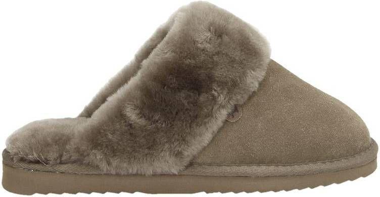 Warmbat Australia suède pantoffels taupe online kopen