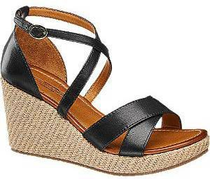 Zwarte leren sandalette 5th Avenue maat 37 online kopen