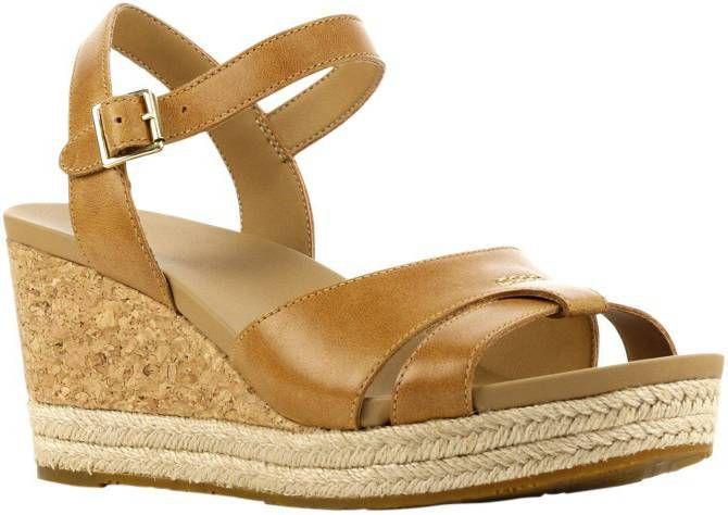 UGG Cloverdale leren sandalettes lichtbruin online kopen