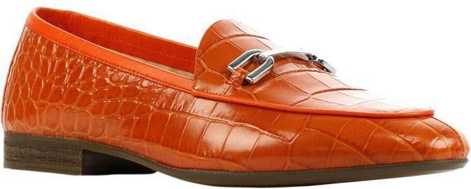 Unisa Dalcy leren loafers crocoprint oranje online kopen